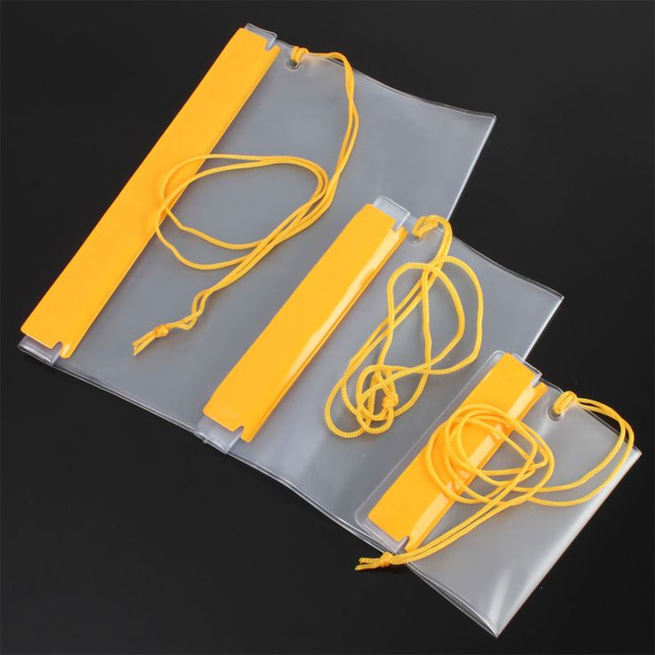 3Pcs Waterproof Dry Bag Canoe Floating Boating Kayaking Camping Transparent With Yellow Closure Water-Resistant For Valuables
