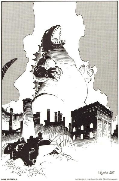 Mike Mignola's Godzillaprint from Dark Horse Comics'The Godzilla Portfolio #1
