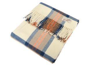 Lambswool Blanket Cream Blue Orange