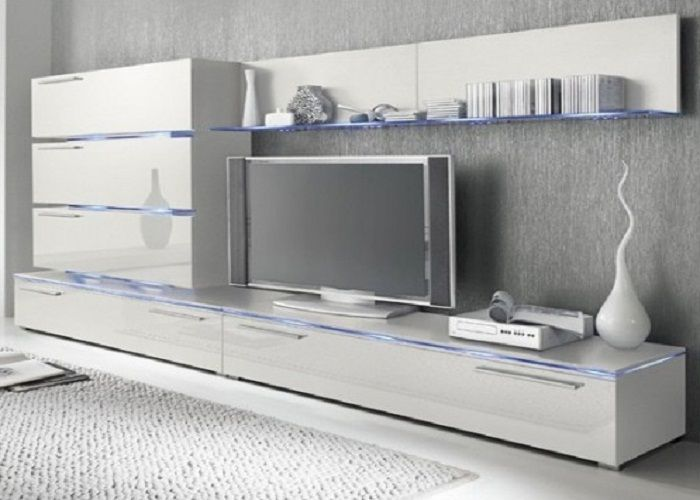 High Gloss White Wall Mounted Tv Units With Glass Panels