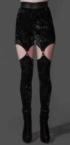 Style #82-224blk: Midnight Crushed Velvet Garter Clip Leggings