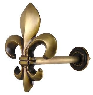 Solid Brass Curtain Tie Back (Antique Brass Finish) - nice piece of Fleur hardware. Online at www.lookintheattic.com and also found in the Look In The Attic catalog.