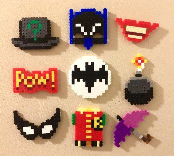 Batman Retro Magnets Perler Bead Pins 8 bit Pixel Art TV series Campy 60s Adam West Classic