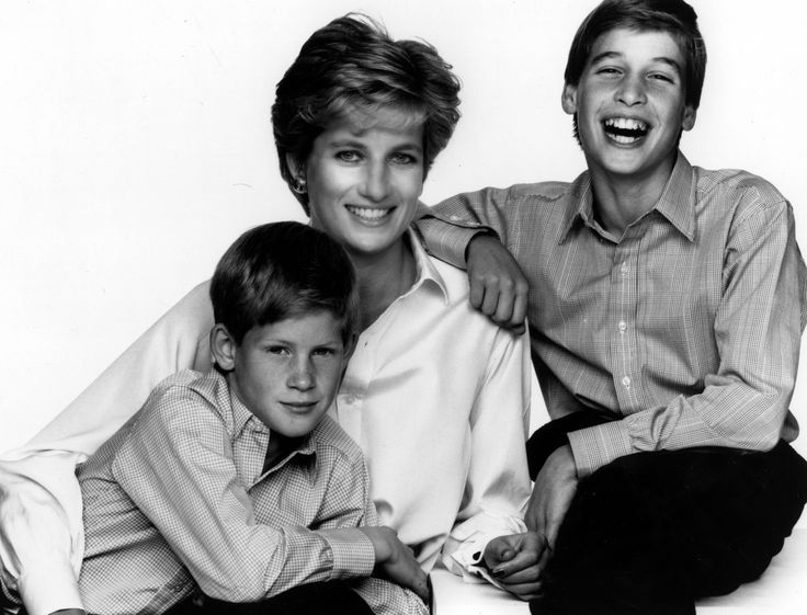 Lady Di~Diana Spencer with her sons William and Harry.