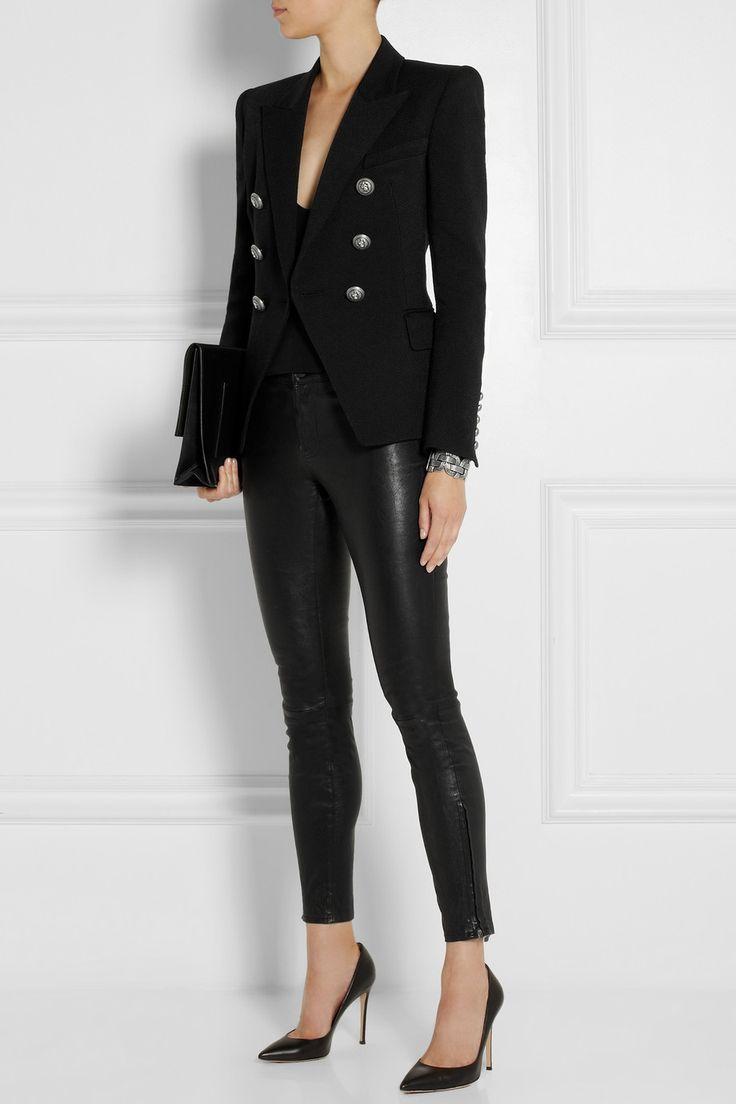 Balmain Double-breasted piqué blazer NET-A-PORTER.COM