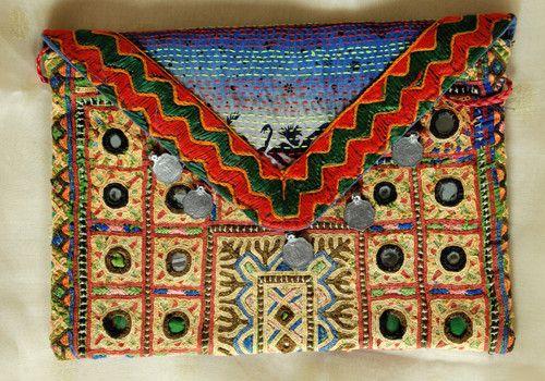 Vintage Kutch Embroidery Bag with Kantha Work (Design 10)