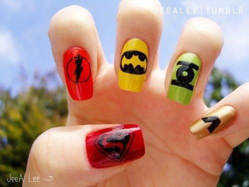 Super Hero nails :)Superhero Nails, Nails Art, Comics Book, Nails Design, Dc Comics, Superheroes, Super Heroes, Justice League, Superhero Birthday Parties