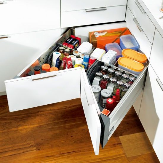 The Space Corner is Blum's unique solution for notoriously difficult corner units. It features full-extension drawers, so there's no unreachable or hidden space at the back. Ask your kitchen retailer for Blum components.