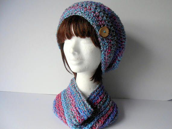 Clothing Gift. Hat and Scarf Set. Slouchy Beanie Hat. Cowl