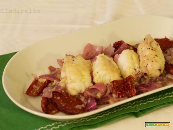 Coda di rospo in padella con pomodori secchi  #ricette #food #recipes