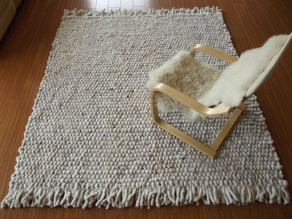 Hand woven wool rug Super Chunky  Pure Wool   by FeltedHomeDeco