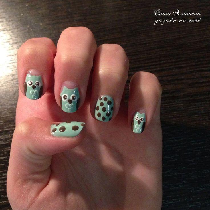 Совушки #nail #nails #ногти #маникюр #рисунок #nailart #art #naildesign #design #nailstyle #style