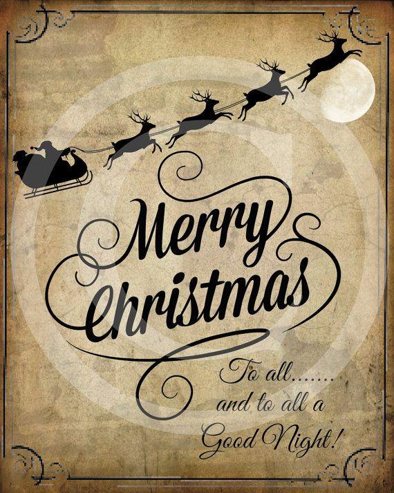 Primitive Merry Christmas Santa Claus Sleigh Reindeer Pantry Logo Label Jpeg Digital File for Crock  Jar, Labels, Pillows, Doll