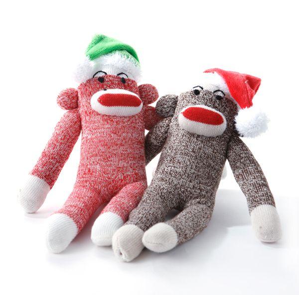 Multipet – Jouet pour chien, bas de Noel, modèle de singe avec chapeau, couleurs assorties