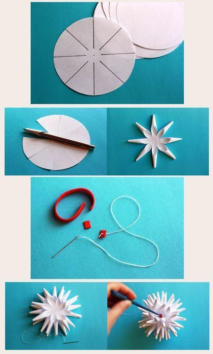 vánoční koule, papírová koule, vánoční dekorace, 3D ozdoba