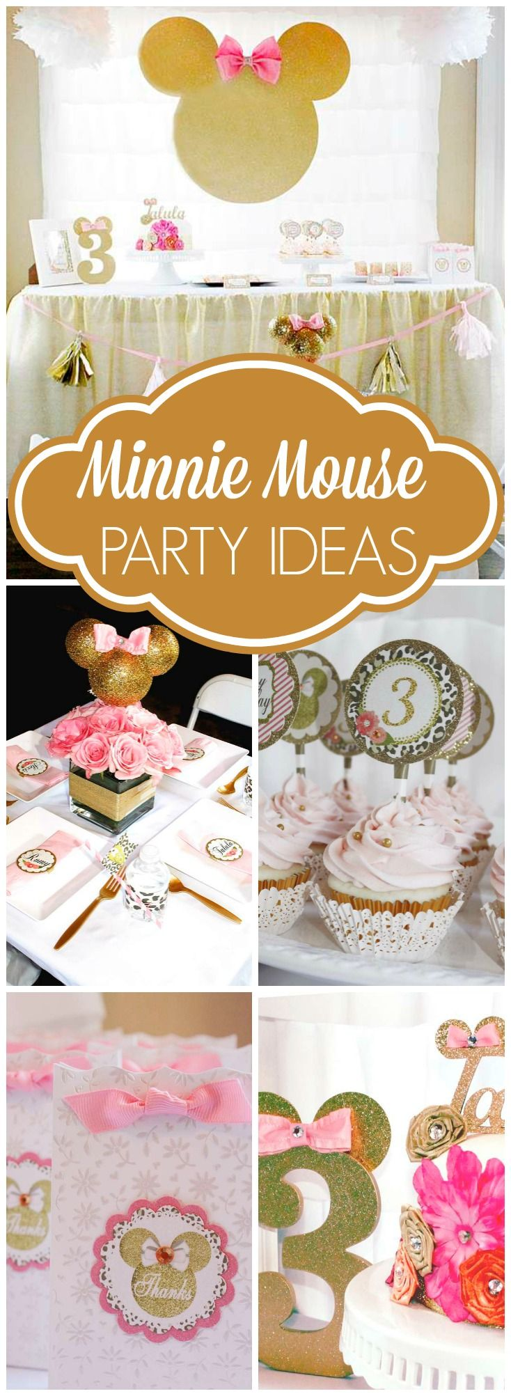 What a glittery twist to the traditional Minnie Mouse theme! See more party ideas at CatchMyParty.com!