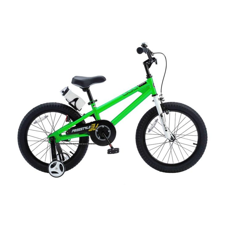 18 in. Wheels Freestyle BMX Kid's Bike, Boy's Bikes and Girl's Bikes with Training Wheels in Green, Greens