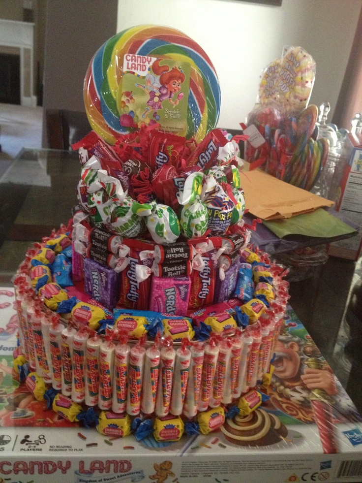 Candy cake centerpiece for my daughter s candyland themed