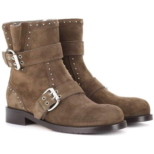 Jimmy Choo Blyss Suede Ankle Boots ($1,165) ❤ liked on Polyvore featuring shoes, boots, ankle booties, brown, brown boots, suede ankle booties, short brown boots, brown ankle booties and suede ankle boots