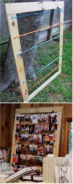 DIY - Wooden Framed Picture Display Paint the frame & maybe use wire in place of string