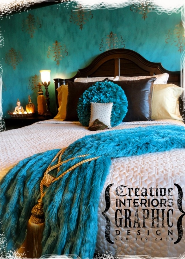 Blue + brown bedroom - turquoise and gold? hmm.