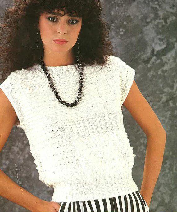 c1b0febbd80 Dames zomer trui breien patroon PDF No.0549 Deze trui is mouwloos; wol  gebruikt
