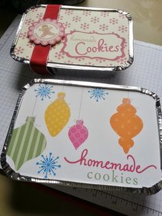 Cookies in aluminum container with cute printed top.