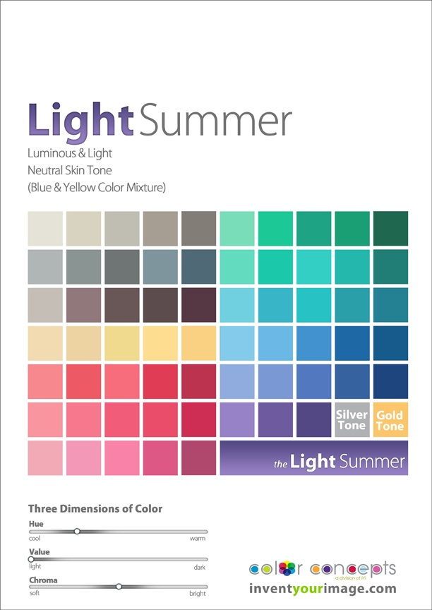 Colors for a Light Summer Woman www.inventyourimage.com Copyright © 2011 No part of these materials may be  reproduced, distributed or transmitted in any form or by any means  unless prior written permission is given by  Lisa K. Ford- CEO and Founder of  Invent Your Image, LLC