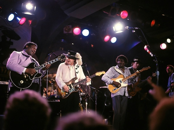 B.B. King, Stevie Ray Vaughan and Albert Collins at the New Orleans Jazz Festival, April 22, 1988.