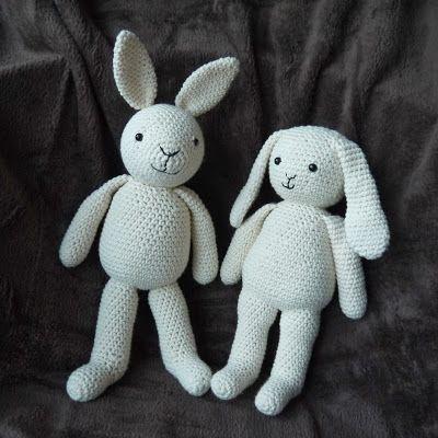 #crochet, free pattern, amigurumi, rabbit, bunny, one piece body, stuffed toy, #haken, gratis patroon, konijn, lichaam in één stuk, knuffel, speelgoed, Lalla and Lily, #haakpatroon