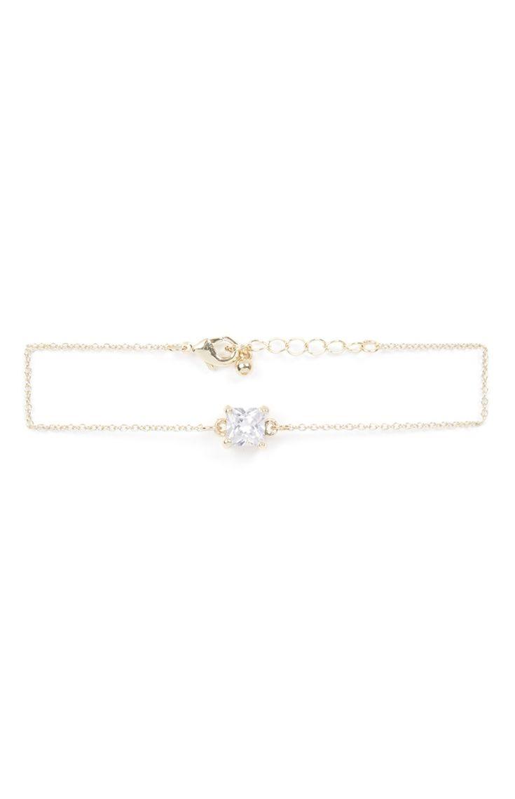 Bracelet à breloque cubique doré