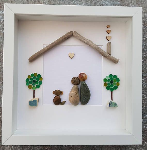 CUSTOM ORDER. Please email me with requirements. A beautiful and unique handmade pebble art pictures Family in home with driftwood roof and chimney, wooden heart embellishments and flowered tree or sea glass tree. Please select option you require, prices vary. I can also include printed