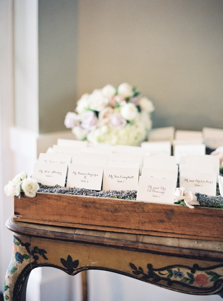 escort card table with lavender photo by