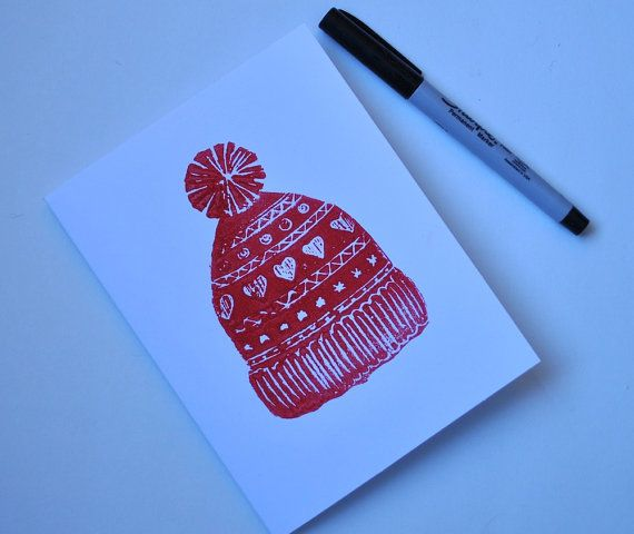 Valentine's Day Card Block Print for Him