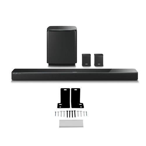 Bose SoundTouch 300 Soundbar, Black - Bundle With Bose Acoustimass 300 Wireless Bass Module Black, Bose Virtually Invisible 300 Wireless Surround Speakers Black, Wall Bracket Kit Wb-300