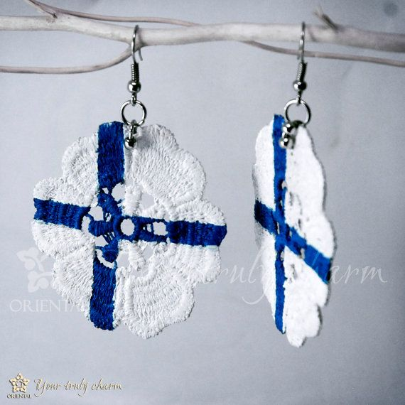 Flower lace earring flag of Finland white blue by OrientalColour, $7.80