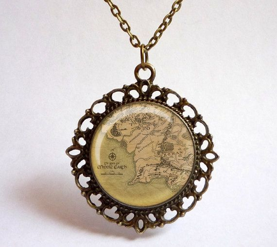 MIDDLE EARTH map pendant. Vintage style map by OldeOwlPendants