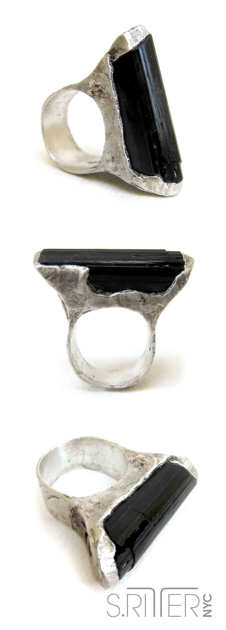 a slight, bullet-shaped piece of classy black tourmaline. sleek and sublime. ahhhh. || raw natural stone rings || SRitterNYC.com || instagram @srittternyc