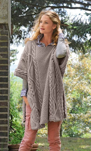 Bergere de France Poncho Pattern 312.221. Another adorable cabled poncho/cape from Bergere de France! This style of garment would not only be ideal for wearing when in my wheelchair, but has some lovely style to it, too!