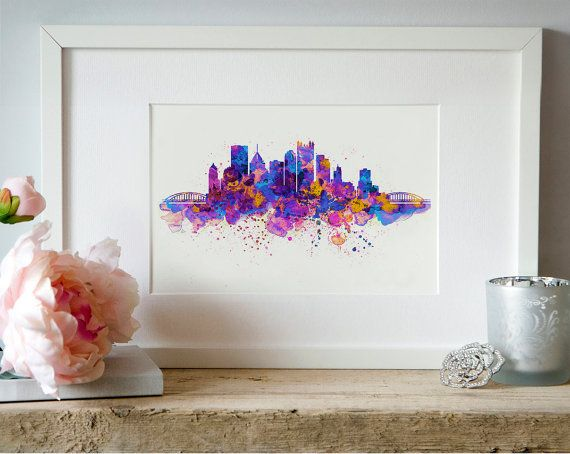 Pittsburgh Skyline Watercolor painting Wall art by Artsyndrome