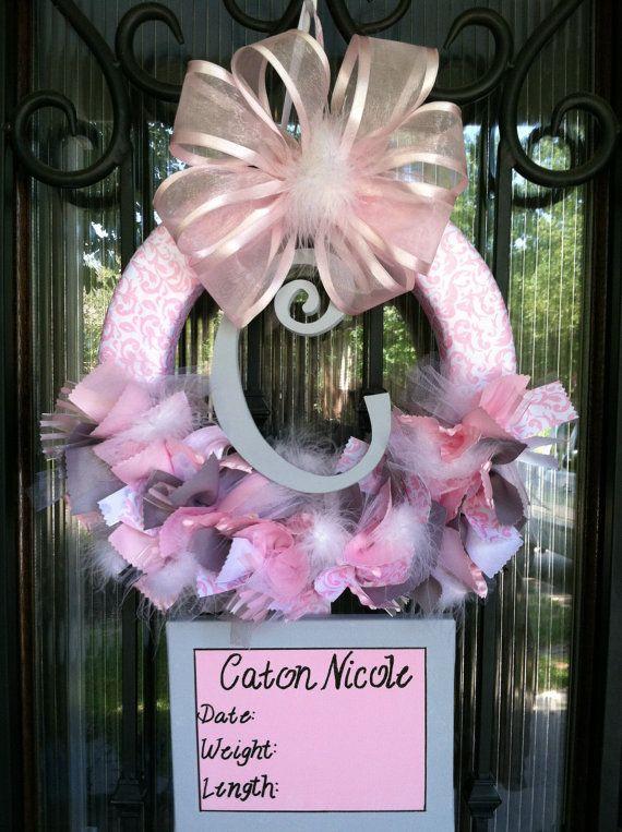Baby Ribbon Wreath Nursery Hospital Door Baby Shower by JoowaBean, $85.00