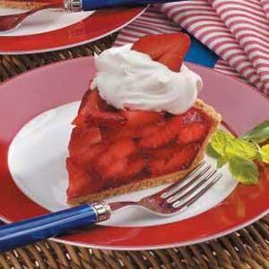 Gram cracker crust,Strawberry jello,Strawberries Cool whip....YUMMY.