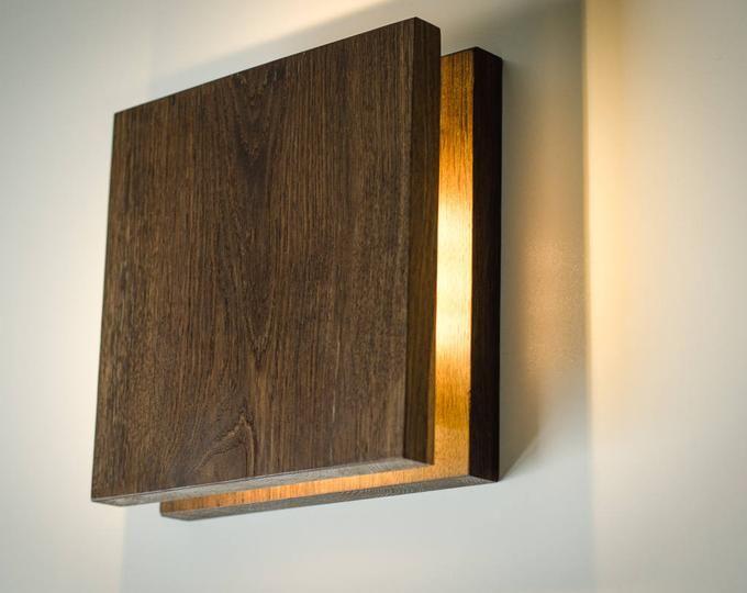 wall lamp wooden DECOR#83 handmade. oak. wood art. wood lamp