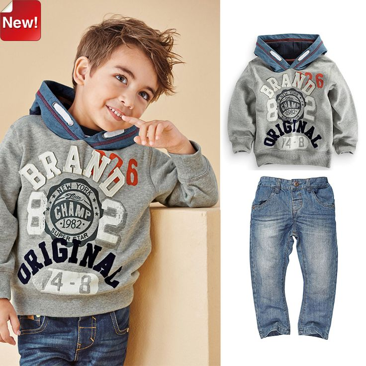 Cheap clothing brands for men, Buy Quality clothing guangzhou directly from China clothing words Suppliers:  Monogram Gray Long-sleeved Hooded Sweater+Fashion Jeans Suit Boys Autumn 2014 New Clothing Sets C