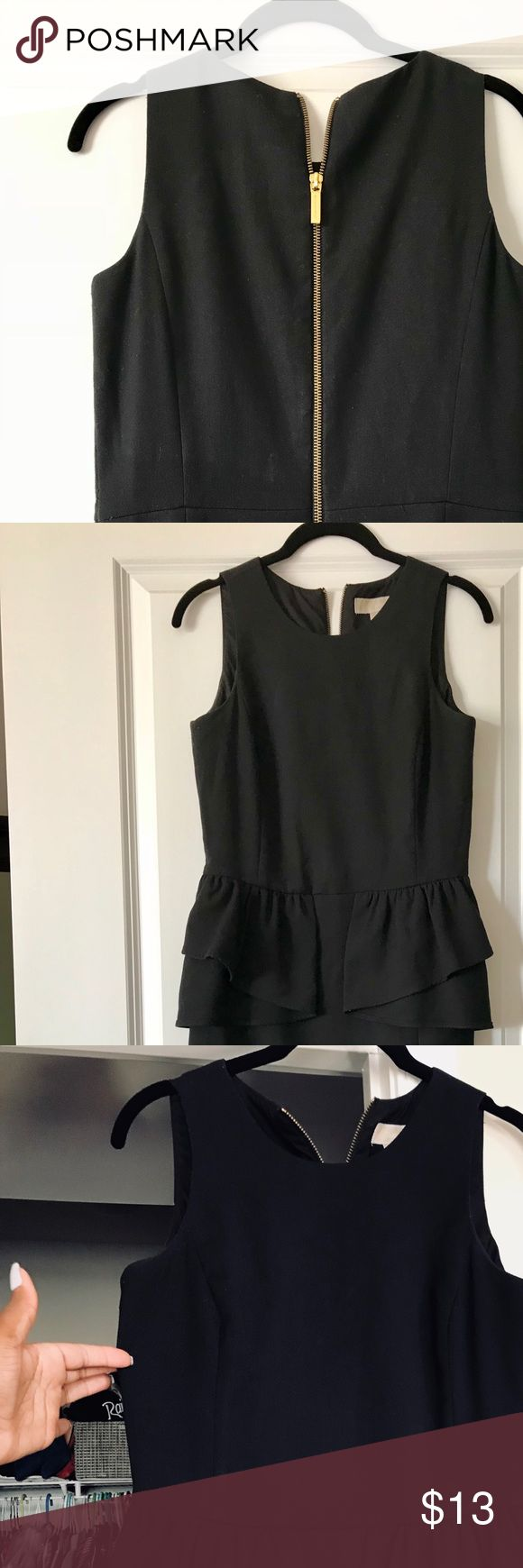 Michael Kors Black Peplum Dress. Classic little black (Peplum) dress with gold back zipper. An absolute staple for any wardrobe! MICHAEL Michael Kors Dresses Midi