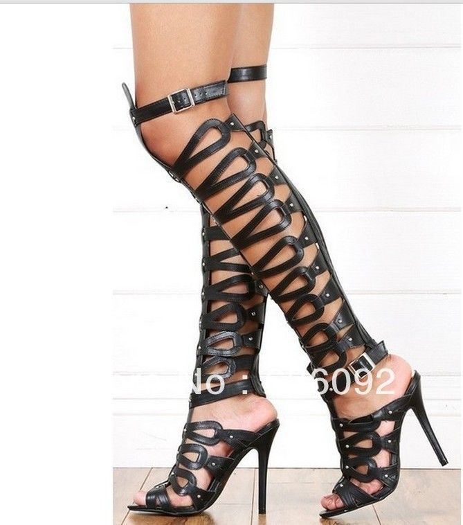 buy cheap 2014 newest outlet low shipping summer new sandals PU ultra-high-heeled cool boots Roman pop black magazines section high to help cool boots women's shoes WXwRurvLVc