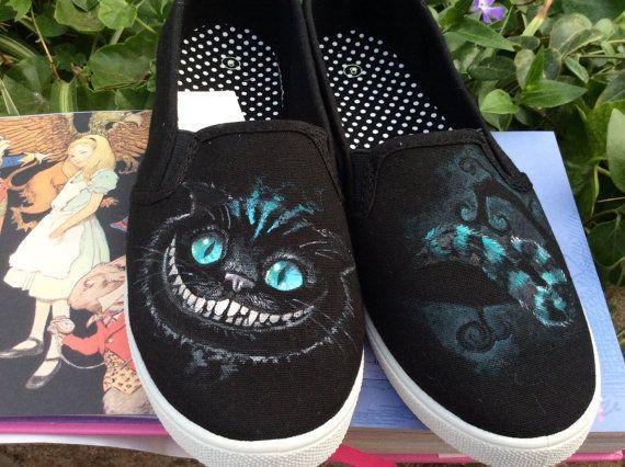Alice im Wunderland Cheshire Cat benutzerdefinierte handgemalten Schuhe (ganze Größe, für Männer oder Frauen)