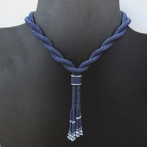 Metallic Dark Blue Lariat - Crochet Beaded Necklace - Bead Crochet Rope Necklace