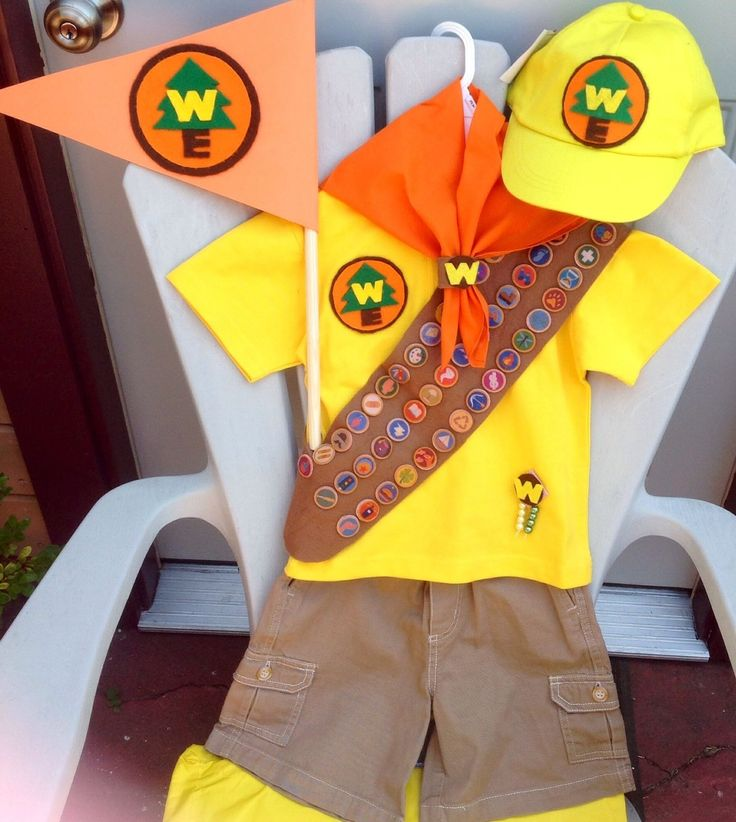 New Disney Russell Up Movie Scout Backpack Hat Sash Top Shorts Flag Costume 3 4 | eBay