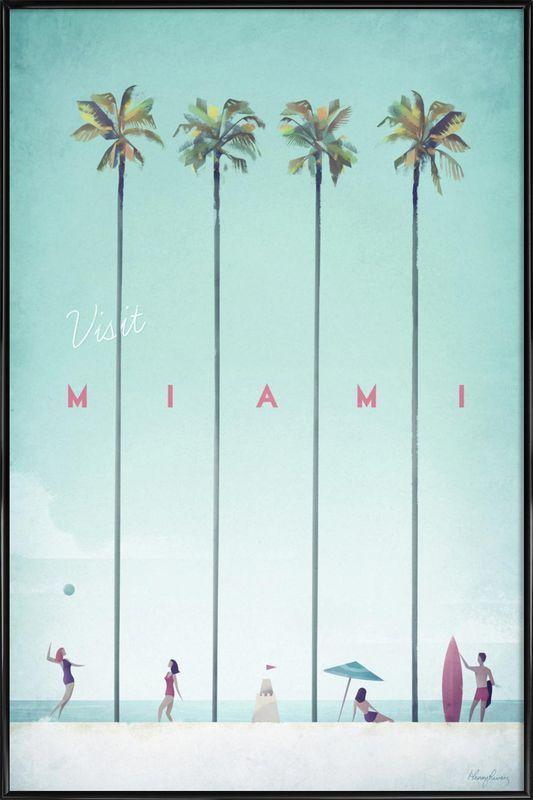 Miami als Poster in kunststof lijst door Henry Rivers | JUNIQE